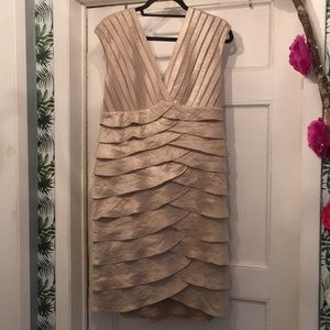 Adrianna Papell Gold/Cream Dress Sz 14